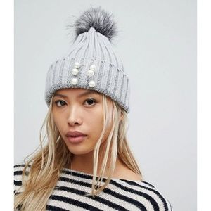 ASOS 7X | Pearl Detail Chunky Beanie Hat